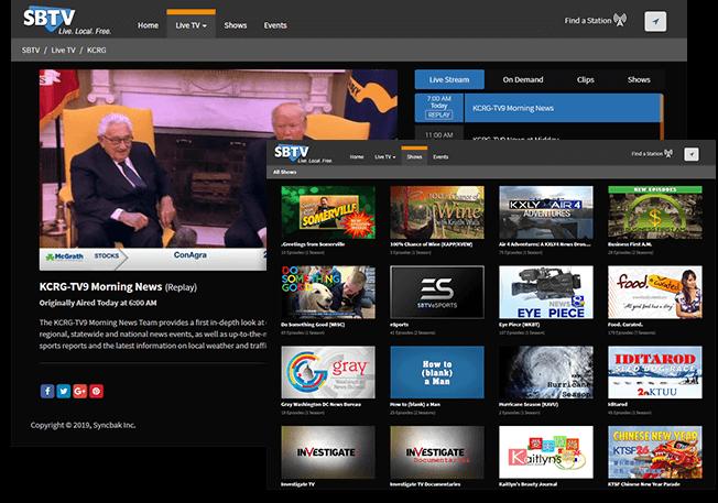 2 screenshots of SBTV site